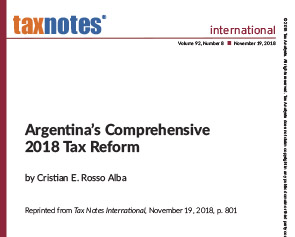 """""""Comentarios sobre la reforma fiscal 2018 en Argentina"""""""