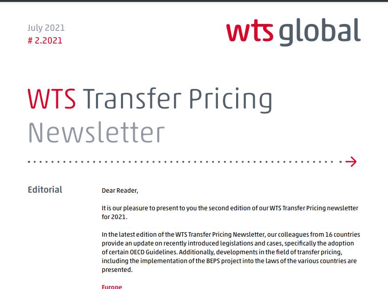 WTS. Newsletter de Precios de Transferencia 2021 N° 2.